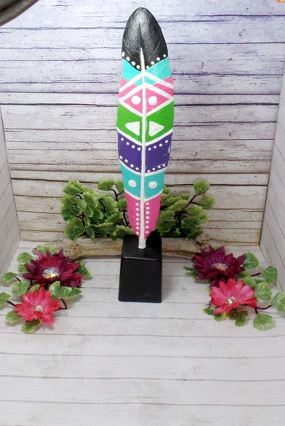Bohemian Feather Home Decor - Feather Statue - Feather Home Decor - Painted Feather - Free US Shipping