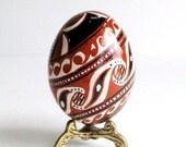 brown Trypillian Egg with Fish painted, batik style Ukrainian Easter egg pysanka