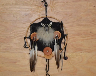 Unique Hand Made Dream Catcher Large Black Leather Center With Fur And Feather Detail Along With Ceramic Dear Head