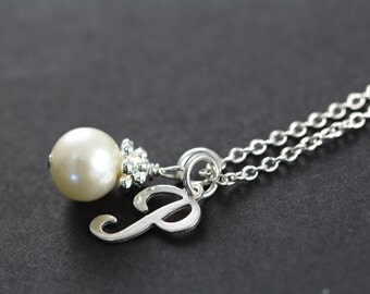 Initial Necklace, Initial Charm Necklace, Initial Pearl Necklace, 925 Sterling Silver
