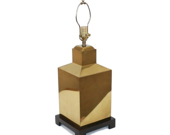 Hollywood Regency Brass Canister Lamp Asian Modern Luxe