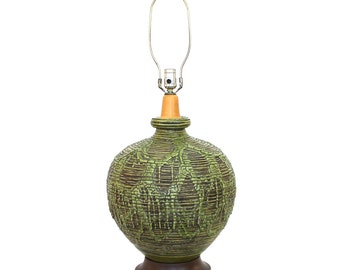 "HUGE Green Pottery Lamp Mid-Century Modern Lava Glaze 15"" diameter"