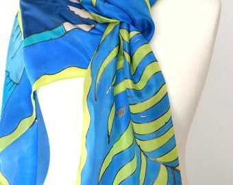 Retro flapper roaring twenties fashion scarf , art deco blue green scarf with flapper