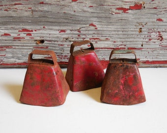 3 Vintage bells Goat sheep herd Rusty Red Farm Salvage Primitive farmhouse Rustic Cottage bell