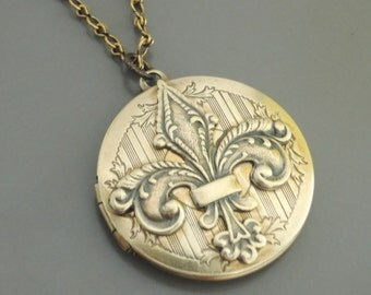 Vintage Locket Necklace -  Art Nouveau French Fleur De Lis Necklace - Brass Necklace - handmade jewelry