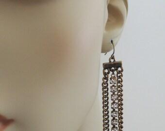 Tassel Earrings - Chain Earrings - Boho Earrings - Crystal Earrings -  Antique Gold Earrings - Upcycle Earrings - Long Earrings - Handmade