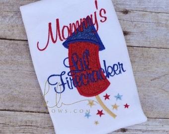 4th of July Shirt, Mommy's Little Firecracker, Boy, Girl Fourth of July, Baby's 1st July Fourth Shirt, Glitter Red, Blue, American, Firework