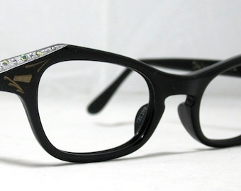 Vintage 60s Cat Eye Glasses. Black and Silver with Rhinestones