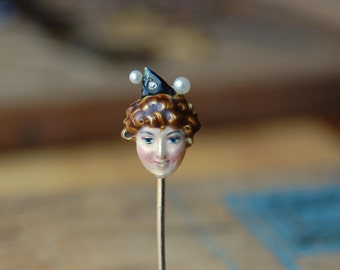 Antique enamel witch stick pin with diamond and pearls ∙ Victorian enamel diamond stick pin
