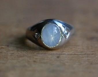 Vintage Art Deco 1930s white star sapphire ring ∙ vintage 10K star sapphire ring