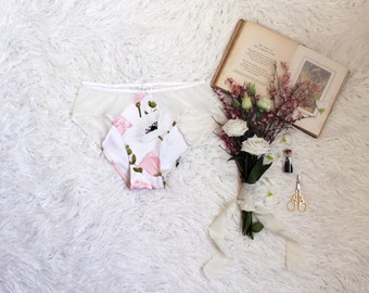 Limited Anemone Pink and White Pastel Floral Panties with Sheer White Mesh Handmade Feminine Lingerie
