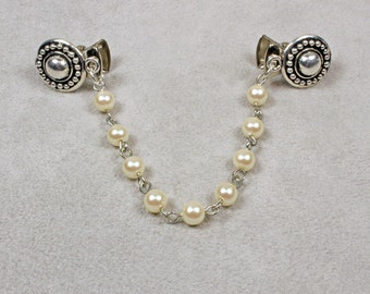 Pearl Sweater Clip - Sweater Clip - Pearl and Silver Sweater Clip - Pearl Chain Sweater Clip - Collar Clip - Cardigan Clip