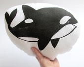 Plush Orca Whale Pillow. Hand Woodblock Printed. 12 inches. Made to Order. Choose any color.