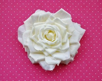 Beautiful big silk rose in cream hair flower pin up vintage rockabilly style wedding bride 50s
