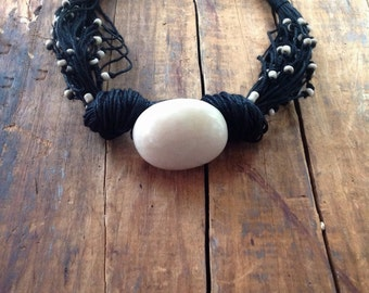 Boho Necklace, Off White Tagua Nut Bead, Indonesian Beads, Black Linen Cord, Tagua Necklace, Linen Jewelry