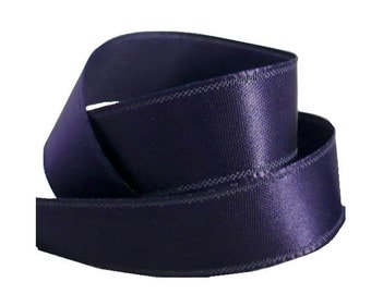 "1/2"" Navy Blue Satin Ribbon, Single Face Satin Ribbon, 1960's Vintage Sewing Supply"
