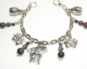 Mardi Gras Charm Bracelet, Silver and Pewter New Orleans Jewelry, Hand Grenade Drink Bracelet, Mask Jewelry, Masquerade Bracelet OOAK #5