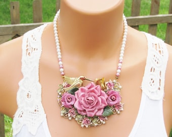 Upcycled Vintage Jewelry Necklace, Shabby Chic,Pink Roses and a Hummingbird