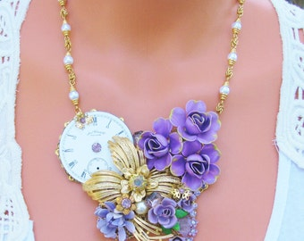 Repurposed Vintage Jewelry Assemblage Necklace, Purple Flowers-Great Gift