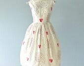 1950s Day Dress...JOHNNYE JUNIOR White Cotton Floral Print Garden Party Dress
