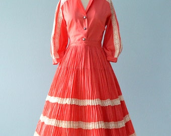 Vintage 1950s Dress...BETTY ROY Raspberry Cotton Two Piece Native American Style Dress