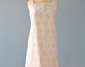 Vintage 1960s Wedding Dress...Mod Short Silver and White Lace Wedding Dress City Hall Wedding Dress