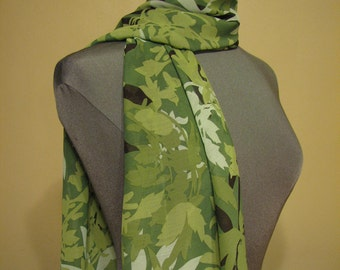 SALE - large green print sheer scarf - 70s inspired