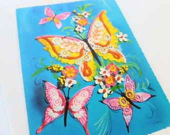 Lace Butterflies Friendship Hello Greeting Card 1960s Unused with Envelope