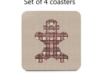 Christmas coaster set, drink coasters, set of 4, gingerbread man coasters, Christmas decor, housewarming gift, cork back coasters