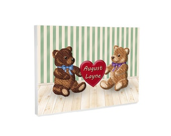 Personalized nursery decor, personalized nursery wall art, teddy bears wall decor for boy or girl, ready to hang gallery wrapped canvas art