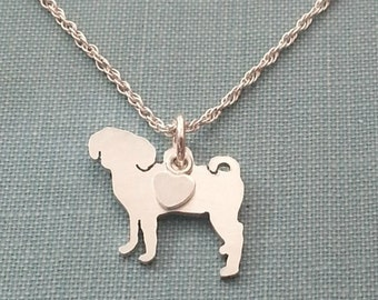 Puggle Dog Necklace, Sterling Silver Personalize Pendant, Breed Silhouette Charm Rescue Shelter