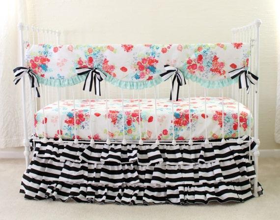 black and white stripe baby girl bedding floral and stripe. Black Bedroom Furniture Sets. Home Design Ideas