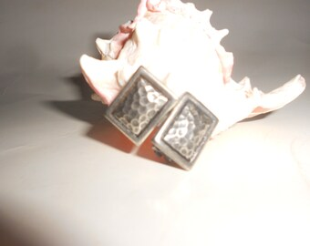 Hammered Sterling Brutalist Earrings Vintage Clip Back -Tribal Style Traditional Modernist