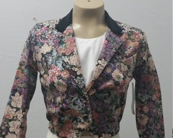 Vintage Tapestry Crop Jacket by Amy Byer California, Steam Punk Jacket, 1980's, Size XS/S,  #60189