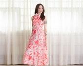 70's Halter Dress - Vintage 1970s Floral Summer Dress - Le Roman Dress