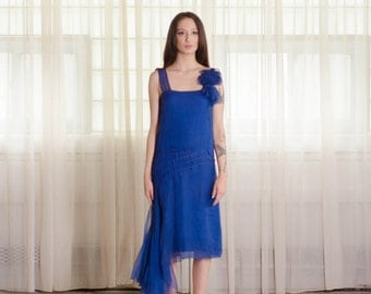 Vintage 1920s Chiffon Dress - 20s Blue Flapper Dress - Zaffiro Chiffon Dress
