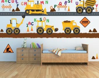 Alphabet Monogram Construction Trucks Decal Roads Dirt Roads REUSABLE Fabric Decals, SIXTEEN FEET of Roads Dirt Roads, A175A