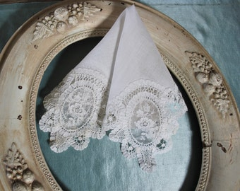 Antique Brussels Lace White Bridal Wedding Handkerchief