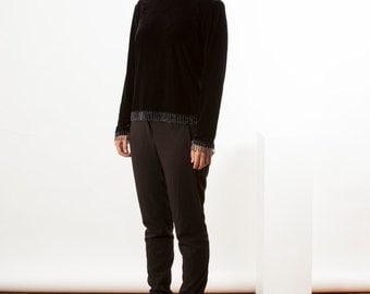 Black Velvet Sweater / Beaded Long Sleeve Blouse / Velour Retro Jumper