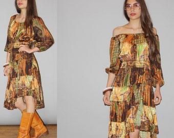 Vintage 1970s Off the Shoulder Gypsy Peasant Paisley Ethnic Scarf Boho Hippie Festival Dress -  1970s Boho Dress  - WD0860