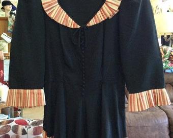 Vintage 1940s Dress Black With Copper & Light Beige Pleats On Arm Cuffs Collar Skirt Left Side Metal Zipper