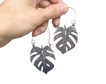 Leaf earrings, Monstera hoop earrings, tropical leaf earrings