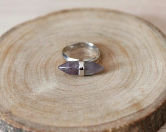 GEMSTONE RING/// Amethyst Silver Double Spike Adjustable Ring/ Purple Amethyst Double Terminated Amethyst Gem Jewelry Natural  (RGD26-Am-S)