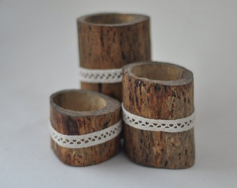 candle  holders •  natural birch candle holders • set of 3