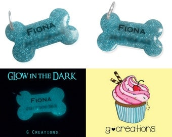 Glowing Bone Dog Tag - Personalized Glitter Dog ID - Custom Name Pet Tag - Handmade Kawaii Dog Accessories - Luminous Dog Collar Accessory