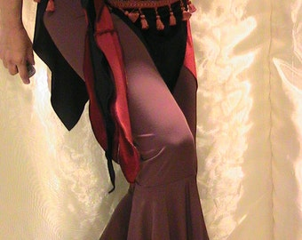 ATS Tribal Belly dance hip scarf, hip skirt, hip belt in black and crimson velvets with sheesha trim brown mini tufted fringe  MED - LAR