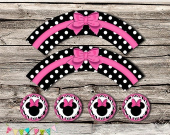 Minnie Mouse Box Cupcake Wrapper 2 - Mickey, Minnie Mouse - Printable - DIY - Digital File - Wedding - INSTANT DOWNLOAD