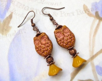 Mustard Yellow and Copper Owl Earrings (2538)
