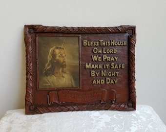 "Vintage ""Bless This House Oh Lord We Pray"" Jesus Blessing Prayer Artwood Wall Art Plaque & Litho By Warner Sallman 1941"