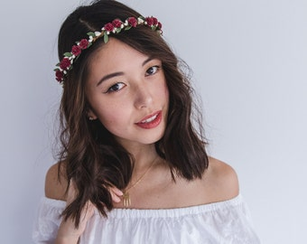 wine rose, leaf & berry flower crown // bridal wedding flower crown headband rustic forest garden spring woodland headpiece